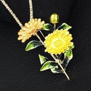 Gorgeous yellow Chrysanthemum necklace and Brooch